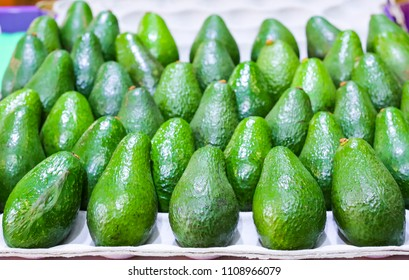 MELBOURNE, AUSTRALIA - MARCH 15, 2018 : Fresh avocado at tourist attraction place, Queen Victoria Market. Market for fruit and vegetables.