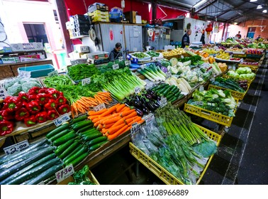 MELBOURNE, AUSTRALIA - MARCH 15, 2018 : Fresh vegetable at tourist attraction place, Queen Victoria Market. Market for fruit and vegetables.