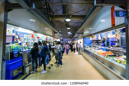 MELBOURNE, AUSTRALIA - MARCH 15, 2018 : Tourist attraction place, Queen Victoria Market. Wet market for meat and seafood.