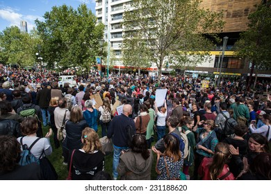 Melbourne, Australia - March 16, 2014: March In March protest for people power, a vote of no confidence in the Liberal, Tony Abbott led government in Melbourne