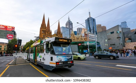 MELBOURNE, AUSTRALIA - MARCH 16, 2018 : Tram in Melbourne city center. Melbourne has the largest urban tramway network in the world. One of tourist attraction.