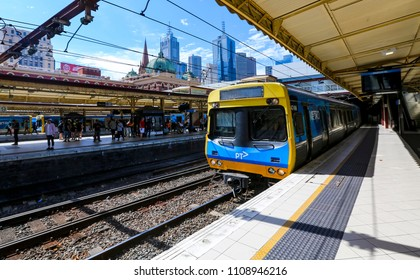 MELBOURNE, AUSTRALIA - MARCH 16, 2018 : Metro Trains Melbourne at Flinders Street Station.