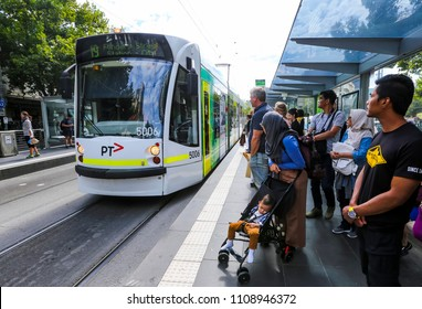 MELBOURNE, AUSTRALIA - MARCH 16, 2018 : The famous Melbourne Tram in city center. Melbourne has the largest urban tramway network in the world. One of tourist attraction.