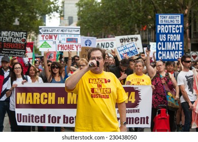 MELBOURNE, AUSTRALIA - March 16: March In March protest for people power, a vote of no confidence in the Liberal, Tony Abbott led government in Melbourne on March 16th 2014