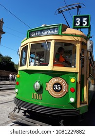 Melbourne, Australia - MARCH 19, 2017: The vintage green City Circle Tram number 35, is a free tram for tourists, that loops around the central business district in Melbourne.
