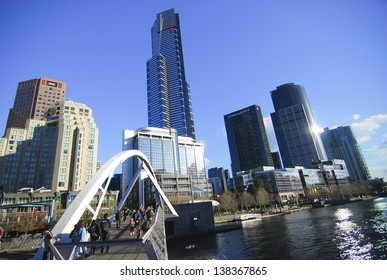 MELBOURNE, AUSTRALIA - MARCH 2: Seafarers Bridge over Yarra River in South Warf is the newest Yarra bridge in Melbourne for pedestrians and cyclists on March 2, 2010, Melbourne
