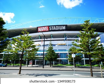 Melbourne, Australia: March 2018: Docklands Stadium also known by its naming rights sponsorship as Marvel Stadium is a multi-purpose sports and entertainment venue in Melbourne's Docklands Precinct.