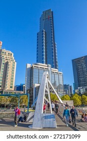 MELBOURNE, AUSTRALIA - MARCH 21, 2015: View of the Southbank Eureka tower from the footbridge on the beautiful sunny day.