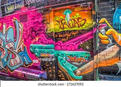 MELBOURNE, AUSTRALIA - MARCH 21, 2015: Colorful graffiti detail in Croft alley in downtown.