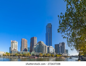 MELBOURNE, AUSTRALIA - MARCH 21, 2015: View of the Southbank high skylines and buildings on the beautiful sunny day.