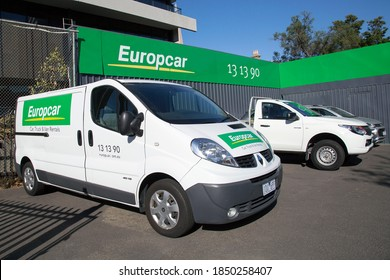 Melbourne, Australia: March 21, 2018: Europcar Hire - a global leader in car rental and you can hire a car or a commercial van from any one of nearly 4000 rental locations worldwide.