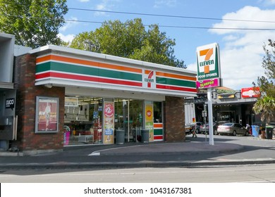 Melbourne, Australia: March 23, 2017: 7-Eleven convenience store the suburb of St Kilda. 7-Eleven is a Japanese-owned American international chain of convenience stores, headquartered in Irving, Texas