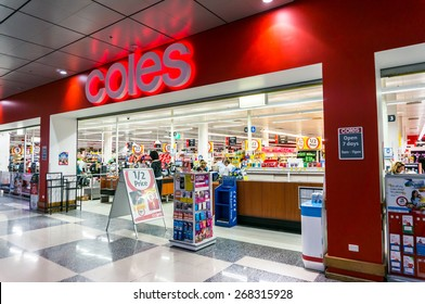 MELBOURNE, AUSTRALIA - March 25, 2015: Coles operates more than 700 supermarkets throughout Australia, such as this store in Box Hill. Coles is owned by Wesfarmers.