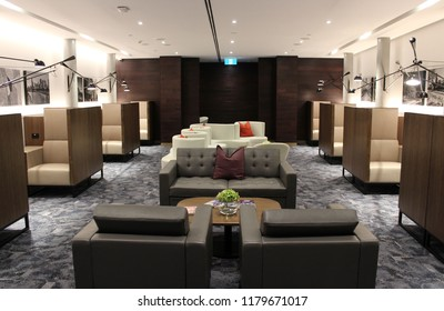 MELBOURNE, AUSTRALIA – MARCH 26 2018: American Express opens a new private lounge for its customers at Melbourne Airport. Travellers from around the world can visit using their AMEX card.