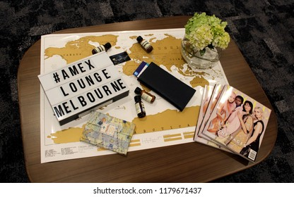 MELBOURNE, AUSTRALIA – MARCH 26 2018: American Express Lounge welcome map on display in the new AMEX Lounge at Melbourne Airport. Art installations greet guests throughout their stay.