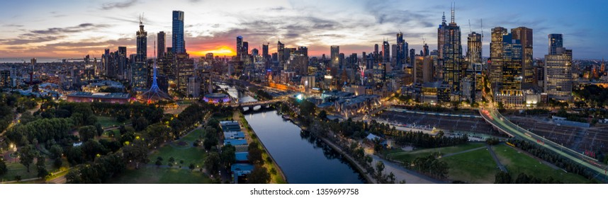 Melbourne Australia March 28th 2019 : Panoramic image of a stunning sunset over the city of Melbourne, Australia