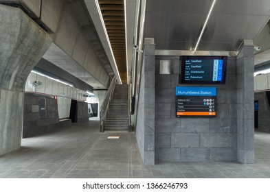 Melbourne, Australia - March 3, 2019: the new Murrumbeena Railway Station, on the Pakenham and Cranbourne lines,opened in 2018. It is a new elevated skyrail station in the metropolitan Metro system.