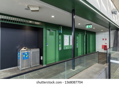 Melbourne, Australia - March 3, 2019: Hughesdale Railway Station was rebuilt in 2018. It is on the Pakenham and Cranbourne suburban Metro train lines.