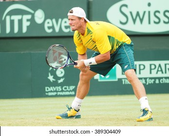 Melbourne, Australia - March 5, 2016: Australian Tennis player Llayton Hewitt during Davis Cup doubles the Brian Brothers from USA at Kooyong Lawn Tennis Club