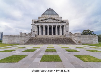 MELBOURNE, AUSTRALIA – MARCH 5, 2017: The Shrine of Remembrance in Melbourne, Australia.The Shrine of Remembrance was built as a memorial to the men and women of Victoria who served in World War I