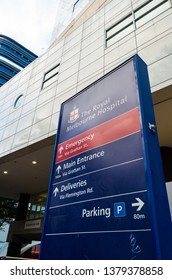 Melbourne, Australia - March 7, 2019: the Royal Melbourne Hospital is a major tertiary teaching hospital located in Parkville. It is operated by Melbourne Health.