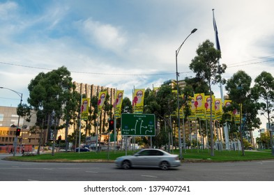 Melbourne, Australia - March 7, 2019: Elizabeth Street roundabout, on the intersection of Flemington Road, Peel Street and Elizabeth Street in North Melbourne.