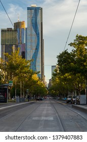 Melbourne, Australia - March 7, 2019: view along Elizabeth Street towards the central business district, in North Melbourne.