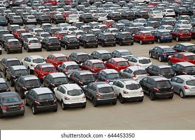 MELBOURNE, AUSTRALIA - MARCH 9, 2014: Many new japanese cars being imported at the port of Melbourne