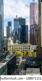 Melbourne, Australia - May 12, 2019: Front view of Melbourne Institute of Technology from an elevated vantage point. Modern high-rise buildings dwarf the institute. In Central Business District (CBD).