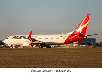 Melbourne, Australia - May 17, 2015: Boeing 737 commercial airliner operated by Australian airline Qantas preparing to take off from Melbourne international airport.