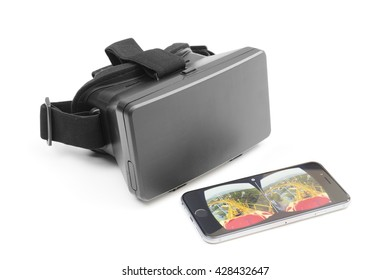 Melbourne, Australia - May 17, 2016: View of a VR headset and an iPhone play VR video on YouTube. The newly updated YouTube app allows users to watch videos in VR with Google Cardboard