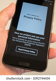 Melbourne, Australia - May 17, 2018: GDRP notice on a mobile phone. General Data Protection Regulation is an EU law on data protection and privacy coming into effect 25 May 2018.
