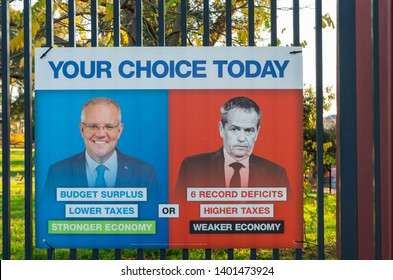 Melbourne, Australia - May 18, 2019: Liberal Party posters at the polling place at Mallauna College in Mitcham in the eastern suburban electorate of Deakin.