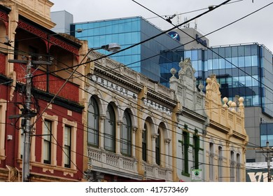 MELBOURNE, AUSTRALIA, May 23, 2014: Old and new - the modern facade of the Epworth Hospital contrasts sharply with the old buildings surrounding it in Richmond, Melbourne.