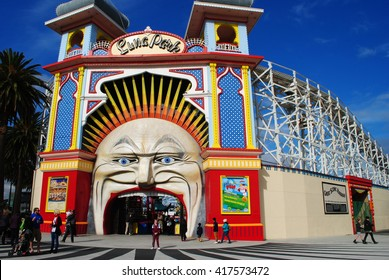 MELBOURNE, AUSTRALIA, May 24, 2014: The iconic entry featuring a clown's face of the Luna Park in St Kilda, Melbourne