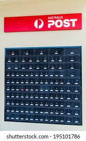 MELBOURNE, AUSTRALIA - May 25, 2014: An Australia Post office and post office boxes.