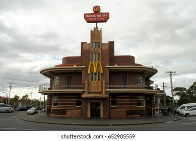 MELBOURNE, AUSTRALIA, May 25, 2017: this classic art deco building in Clifton Hill, Melbourne, formerly a hotel, now houses a McDonald's restaurant