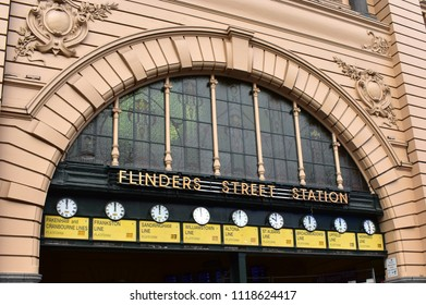 MELBOURNE, AUSTRALIA, May 25, 2018: Row of clocks and art nouveau windows above the entrance of Flinders Street Station in Melbourne, Victoria