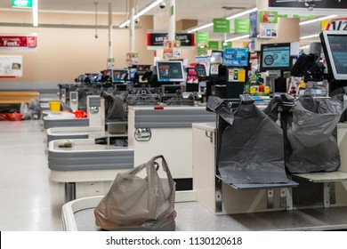 Melbourne, Australia - May 25, 2018: free plastic bags for customers in Coles.  Plastic bag supermarket ban to take efect in Victoria on July 1st, 2018.