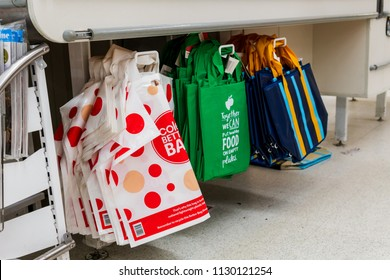 Melbourne, Australia - May 25, 2018: Reuseable shopping bags for sale in Coles Supermarket.  Plastic bag supermarket ban to take efect in Victoria on July 1st, 2018.