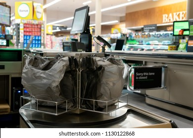 Melbourne, Australia - May 25, 2018: free plastic bags for customers in Woolworths.  Plastic bag supermarket ban to take efect in Victoria on July 1st, 2018.