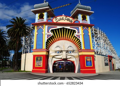 MELBOURNE, AUSTRALIA, May 26, 2017: The entrance of the famous Luna Park in the seaside suburb of St Kilda, Melbourne