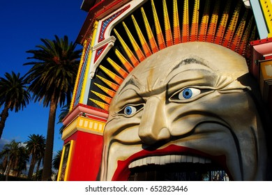MELBOURNE, AUSTRALIA, May 26, 2017: Entrance of the famous Luna Park in St Kilda, Melbourne
