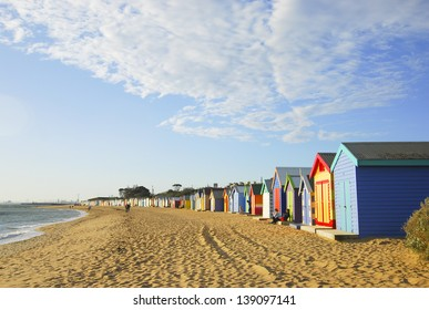 MELBOURNE, AUSTRALIA - MAY 28: Unidentified Visitors enjoy the beach on May 28 ,2010 in Brighton beach, Melbourne.Brighton Beach in Melbourne Australia is well known for its colourful beach huts