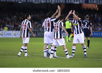 MELBOURNE, AUSTRALIA - MAY 30: Team members celebrate after their first goal during the friendly between Melbourne Victory and Juventus at the Telstra Dome on May 30, 2008 in Melbourne, Australia.
