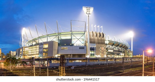 MELBOURNE, AUSTRALIA - MAY 31, 2014: The Melbourne Cricket Ground in Victoria, Australia at night. The MCG is the largest stadium in Australia.