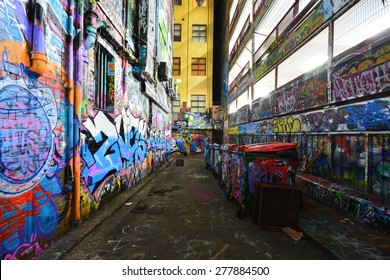 Melbourne, Australia - May 5, 2015:Graffiti artwork in Hosier Lane. Hosier lane is a much celebrated landmark in Melbourne mainly due to its sophisticated graffiti urban art.