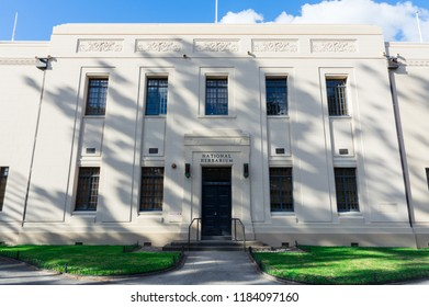 Melbourne, Australia - May 5, 2018: National Herbarium of Victoria was founded in 1853. The building in the Royal Botanic Gardens was constructed in 1934.