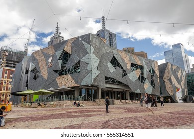 MELBOURNE, AUSTRALIA - NOV 07 2012 - Iconic Federation Square celebrated 10 Years since opening on 26 October 2002. It had more than 9 million visits in 2011 - 29 October 2012, Melbourne Australia