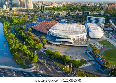 Melbourne, Australia - Nov 10, 2018: Aerial view of Rod Laver Arena, Margaret Court Arena and other tennis courts for hosting the Australian Open
